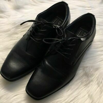 43 1990s Square Toe Leather Oxfords size 9 Mens Vintage Lavender Leather Dress Shoes