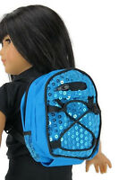 Blue Backpack With Sequins Made For 18 American Girl Doll Clothes Accessories