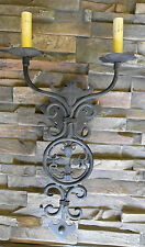 @ 1920S STYLE WROUGHT IRON SPANISH REVIVAL DOUBLE WALL SCONCE LAMP LIGHT