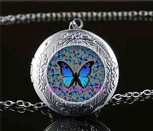 Blue Butterfly Photo Cabochon Glass Tibet Silver Locket Pendant Necklace