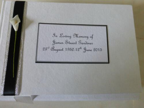 Personnalisé de condoléances deuil Funeral Memorial Livre d/'or noir blanc Lily