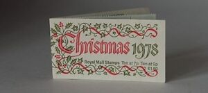 Christmas 1978 Royal Mail Stamps 10@7p & 10@9p in holly and ivy titled booklet