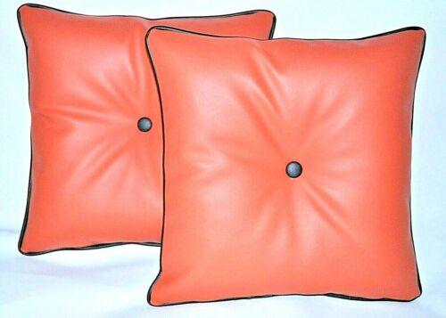 """2 orange en cuir synthétique /& Filler Pads Coussins Noir Piped /& Boutons 16/"""" 18/"""" 20/"""""""
