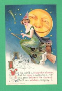 1911-WINSCH-SCHMUCKER-HALLOWEEN-POSTCARD-BEAUTIFUL-LADY-WITCH-BROOM-OWL-MOON