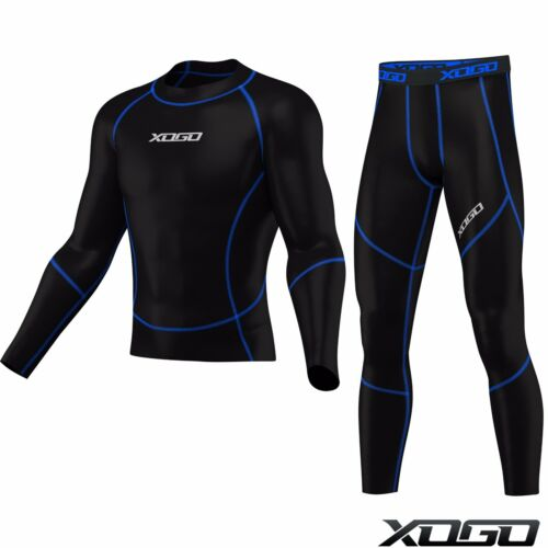 New Boys Mens Compression Tights /& Top Set Armour Base Layer Gym Fitness Under