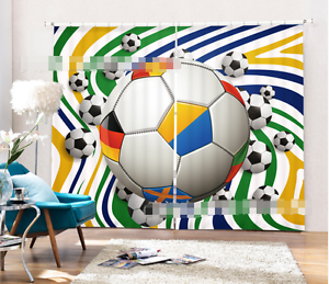 Image Is Loading 3D Many Soccer 5Blockout Photo Curtain Printing Curtains
