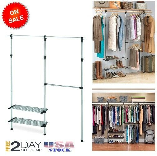 Closet Organizer Clothes Storage Hanger Shelves System Kit Shelf Rack Wardrobe