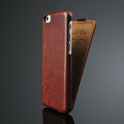 Vintage Handmade Leather Flip Hard Slim Case Cover Skin For iPhone Samsung HTC