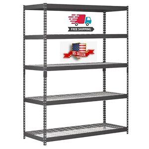 Steel-Shelving-Five-Shelf-Unit-Rack-60W-x-24D-x-78H-Heavy-Duty-Garage-Storage