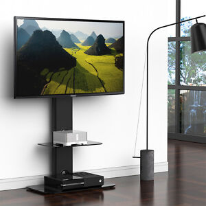 Fitueyes TV Stand with Swivel Mount Component Shelf Entertainment Center for TV