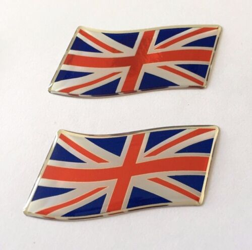 RED-WHITE-BLUE 2 x 57mm WAVING UNION JACK FLAG Stickers//Decals DOMED GEL  UK