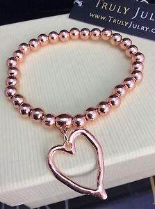 femmes-createur-Or-Rose-Taille-Unique-coeur-extensible-bracelet-cadeau-Bijoux-GB