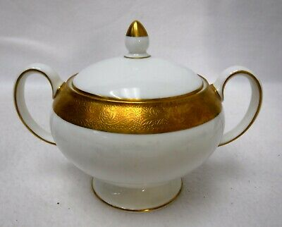 Double Handle Gold Encrusted Sugar Bowl Osborne Gold Lidded Sugar Bowl Two Handle Covered Sugar Bowl