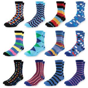 Men-039-s-Dress-Socks-Size-10-13-Colorful-Funky-Patterned-Crew-Socks-12-Pairs