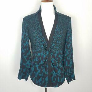 Diane-Von-Furstenberg-Long-Sleeve-V-Neck-Silk-Blouse-Print-Front-Twist-Size-8