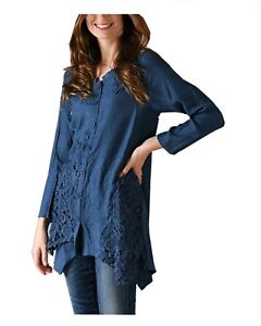 Pretty-Angel-Blue-Button-up-Tunic-top-Blouse-Blue-Shark-Bite-hem-Embroidered