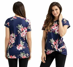 Ladies-Navy-Adorable-Knot-Front-Detail-Navy-Floral-Tank-Top-8-10-12-14-16-18-20