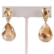 """1.50"""" light topaz rhinestones crystal teardrop clip on earrings non pierced"""