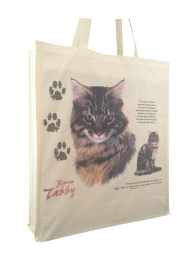 Cat Feline Brown Tabby Cotton Shopping Bag Long Handles /& Gusset for Xtra Space