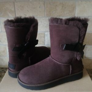 778e501f0fc Details about UGG Classic Knot Bow Short Demitasse Suede Sheepskin Boots  Size US 11 Womens NIB