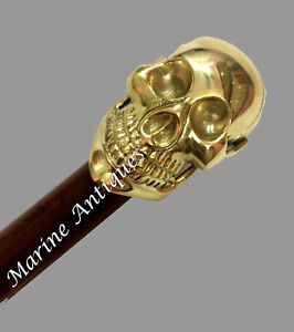 Vintage Antique Silver Brass Skull Handle Black Wooden Walking Stick Cane Style