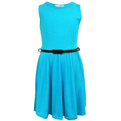 Filles Robe Patineuse Pour Enfants Uni Imprimé Soirée D'été Costume 7-13 Ans