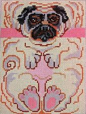 """JG Squiggee /""""Cat Christmas Ornament/"""" HP Handpainted Needlepoint Canvas"""
