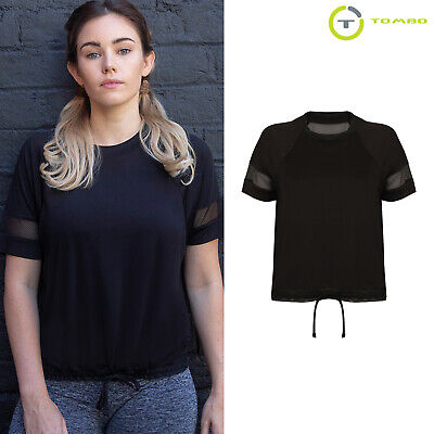 tl526 Short Sleeve To Help Digest Greasy Food Tombo Women's Over Mesh Net Back Exercise Fitness T-shirt