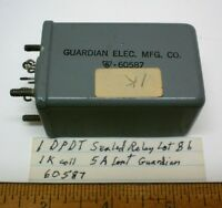 1 Sealed Relay Dpdt 5 Amp Contacts, 1k Coil, Guardian 60587, Lot 86, Made Usa