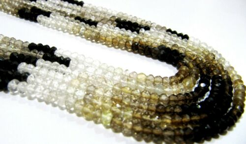 Natural Beer Quartz Shaded Rondelle Faceted 3-4mm Beads Strand 13 inches long