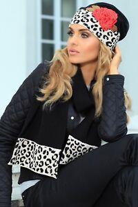 5994360fe4a Set ensemble bonnet écharpe mode femme Noir et léopard laine KAMEA ...