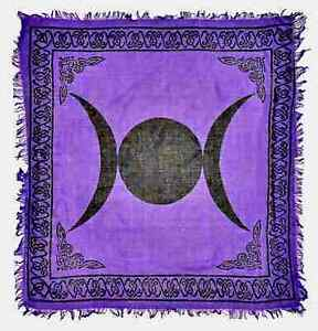 """Triple Moon Altar Cloth 36"""" x 36"""" Wicca Wiccan Pagan Display  Free shipping"""