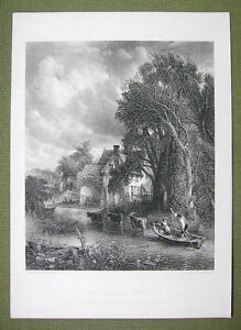 VALLEY-FARM-Romantic-Scene-Stream-Cows-Trees-120-Years-Old-Print-Engraving