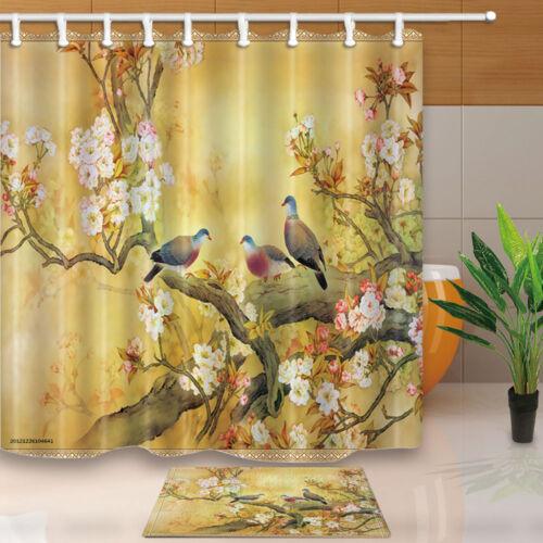 New Plum and bird Bathroom Curtain Shower Waterproof Fabric 12 Hooks 71*71inch