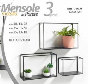 Scaffale A Muro Metallo.3 Mensole Da Parete Rettangolari Metallo Mensola Scaffale A Muro