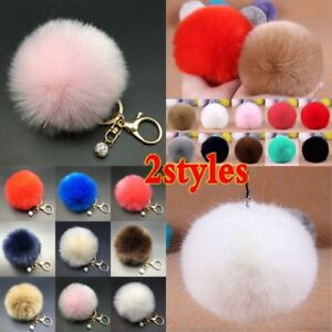 Rabbit-Fur-Fluffy-Pompom-Ball-Handbag-Car-Pendant-Charm-Key-Chain-Keyrings-Charm