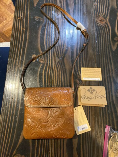 NWT Patricia Nash Tooled Balluri Florence Leather Crossbody Bag Handbag Purse