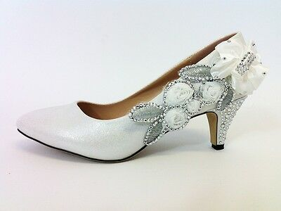 Wedding Shoes - Bride Bridal Bridesmaid / Prom Shoes - White - Size 3 UK  Second