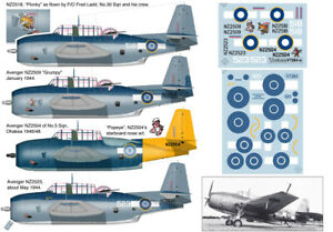 Navy Torpedo Bomber Print Scale Decals 1//72 GRUMMAN TBF AVENGER U.S