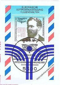 BRD-1991-Otto-Lilienthal-Block-Nr-24-mit-Bonner-Ersttags-Sonderstempel-1A-1711
