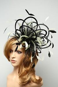 Image Is Loading Black Amp Cream Fascinator Hat Choose Any Colour