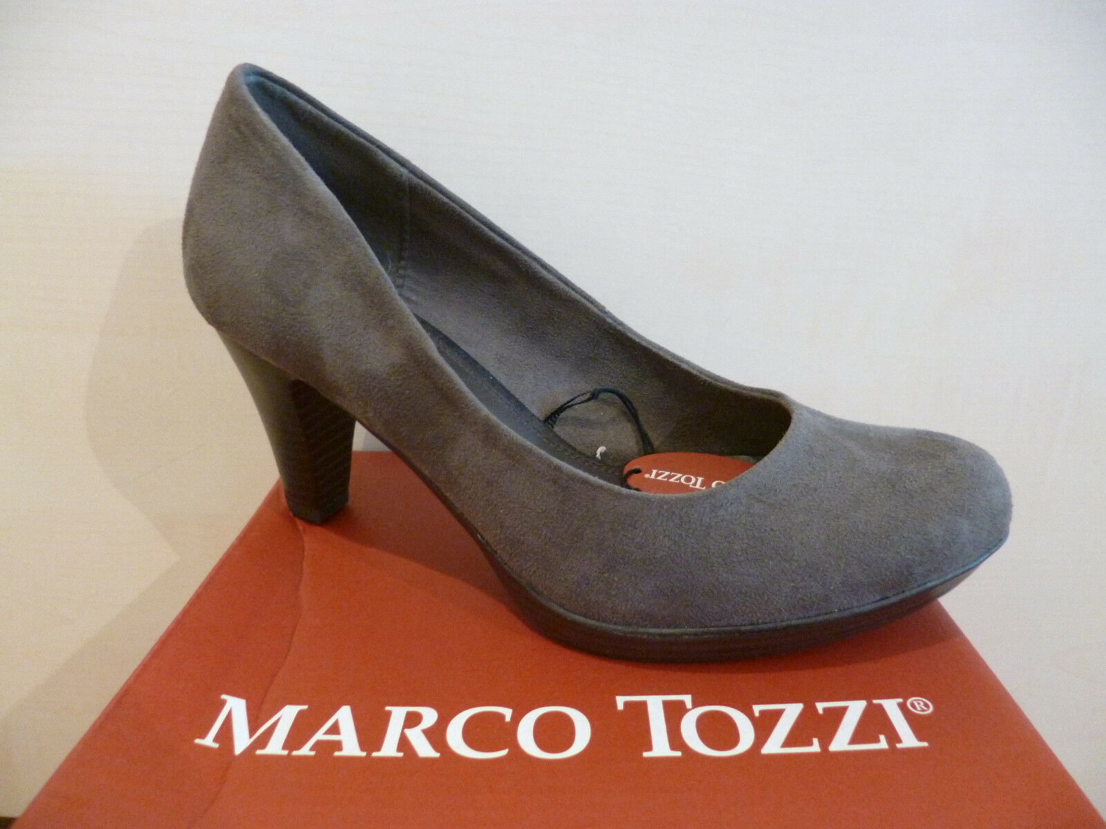 Marco Tozzi Court shoes Ballerina Slippers Grey Faux Leather New