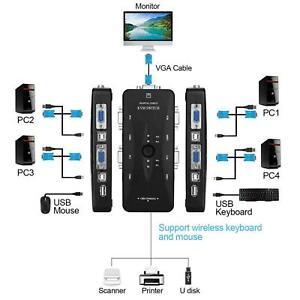 KVM SWITCH 4 PC PER TASTIERA MOUSE MONITOR PORTE USB MONITOR VGA STAMPANTE BOX