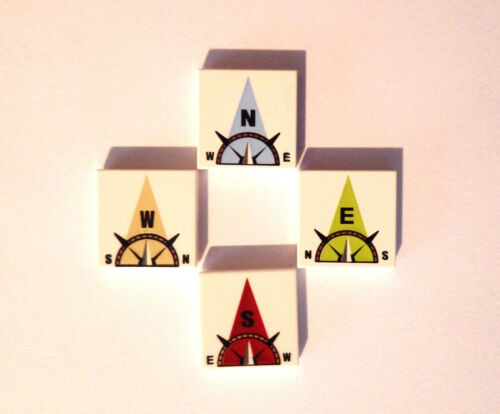 LEGO  4 x Printed Tile 3068 2 x 2 Compass Print South East North West