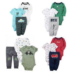 de43ed00e Details about Carter's 3 Piece Bodysuits and Pants Set for Baby Boys