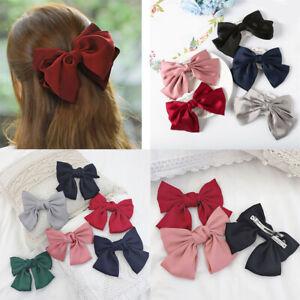 Ribbon-Big-Large-Bow-Hairpin-Hair-Clip-For-Women-Girl-Satin-Hair-Accessories