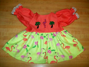 FLORIDA-FLAMINGO-PALM-TREE-CORAL-PINK-TOP-DRESS-for-16-17-034-CPK-Cabbage-Patch-Kid