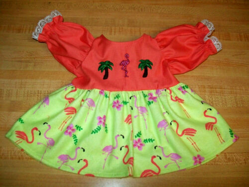 """FLORIDA FLAMINGO PALM TREE CORAL PINK TOP DRESS for 16-17/"""" CPK Cabbage Patch Kid"""