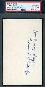 Lewis Powell Jr PSA DNA Coa Hand Signed Supreme Court Justice Cut Autograph