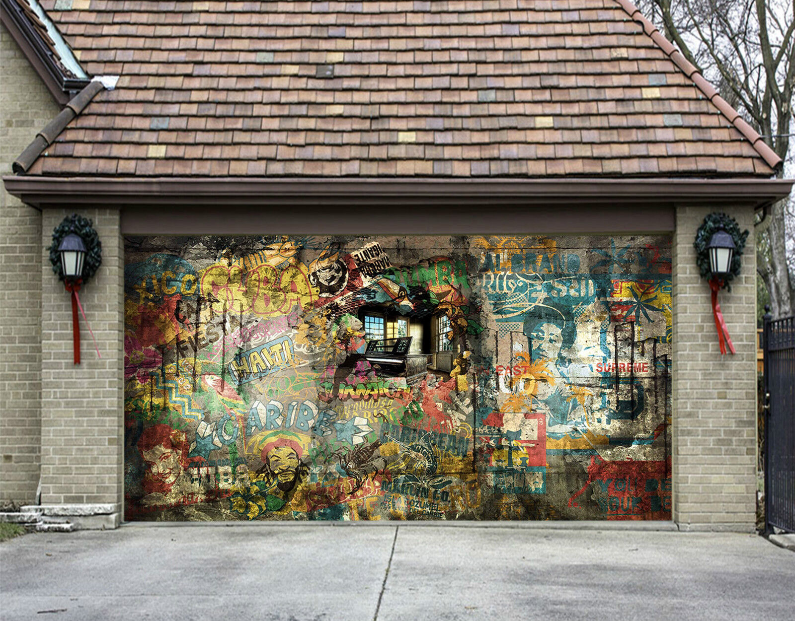 3D Blurry Graffiti Garage Door Murals Wall Print Decal Wall Deco AJ WALLPAPER IE